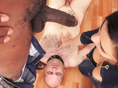 Slutwife humiliates her hubby sucking black cock