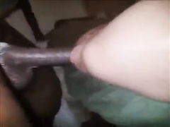 Giant black cock stretching wife's pussy