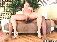 Blonde white mom bbc riding and anal creampie
