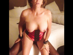 White busty MILF in lingerie riding black cock