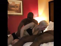 Female bares pussy for sex with Ebony men in front of hubby