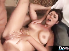 Brutal nigger cums in white milf in front of cuckold husband