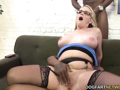 Busty Blonde PAWG MILF in glasses hardcore BBC DP gangbang w facial