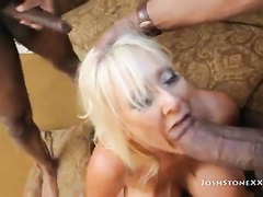 Blonde big titted mom fucked by 2 BBCs
