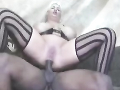 Black pimp fucks white mom in lingerie