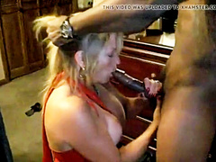 Mature blonde milf sucks BBC while hubby is near