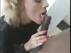 Mature amateur white woman goes black